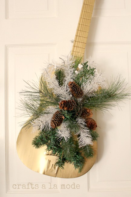 Christmas guitar door decoration