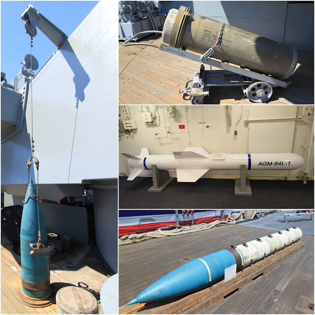 Harpoon Cruise Missile in white and 16 inch 50 caliber projectile in blue at Battleship USS IOWA BB61 in Los Angeles, California, USA