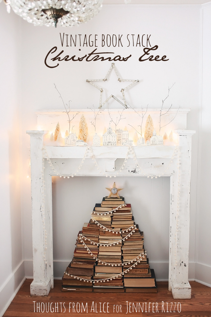 Vintage stacked book christmas tree inside our mantel for Christmas tree made from old books