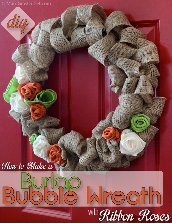 DIY Burlap Wreath: Tutorial with Ribbon for Natural Fall Decor | MardiGrasOutlet.com