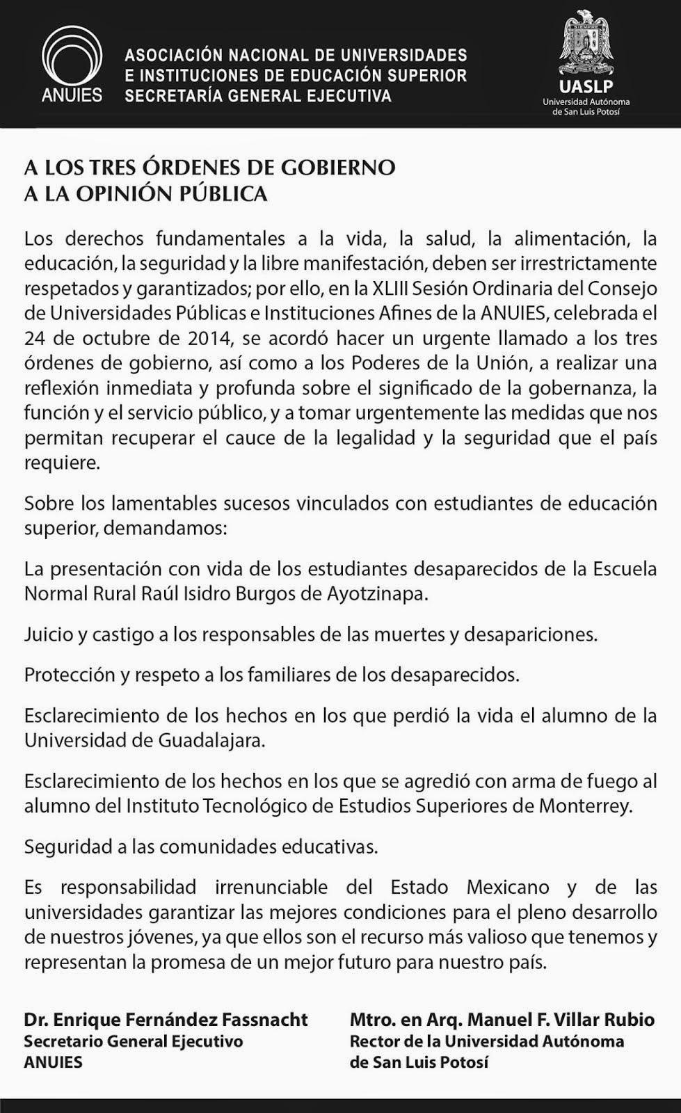 POSTURA DE ANUIES Y DE LA UASLP.