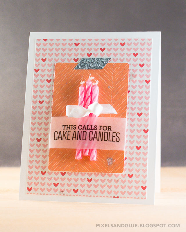 Cake and Candles birthday card by @pixnglue