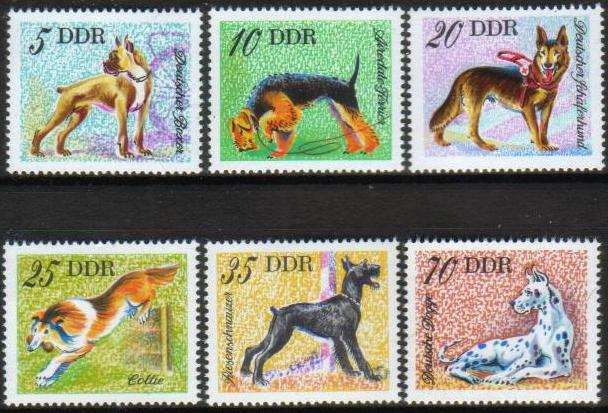 1976年ドイツ民主共和国(旧東ドイツ) ボクサー エアデール・テリア ジャーマン・シェパード コリー シュナウザー グレート・デーンの切手
