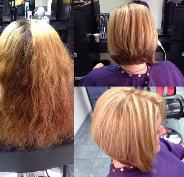 before and after hair collage
