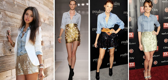 how to wear sequins, what to pair gold with, how to wear gold, gold sequin dress, chambray, how to wear chambray shirts, chambray and gold, fashion ideas, fashion tips, style tips, celebrities