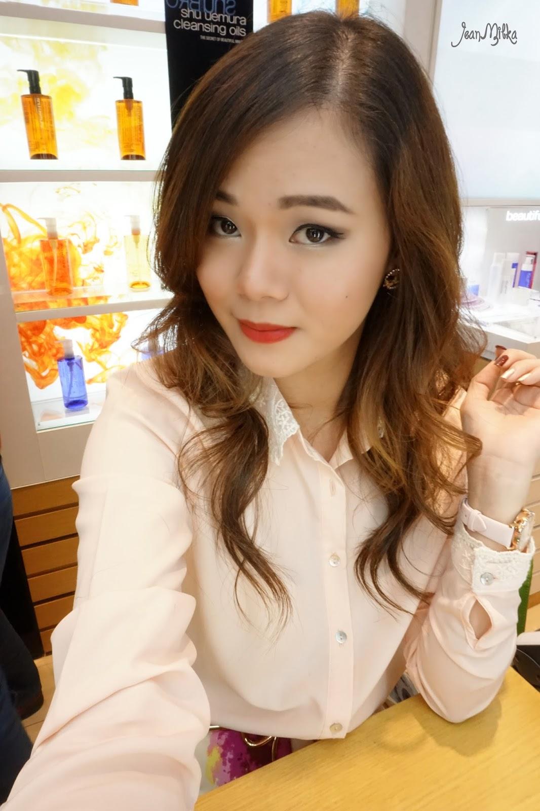 motd, jean milka, shu uemura, tint in gelato, red lipstick, red, lip, makeup, blogger, glam, glamorous