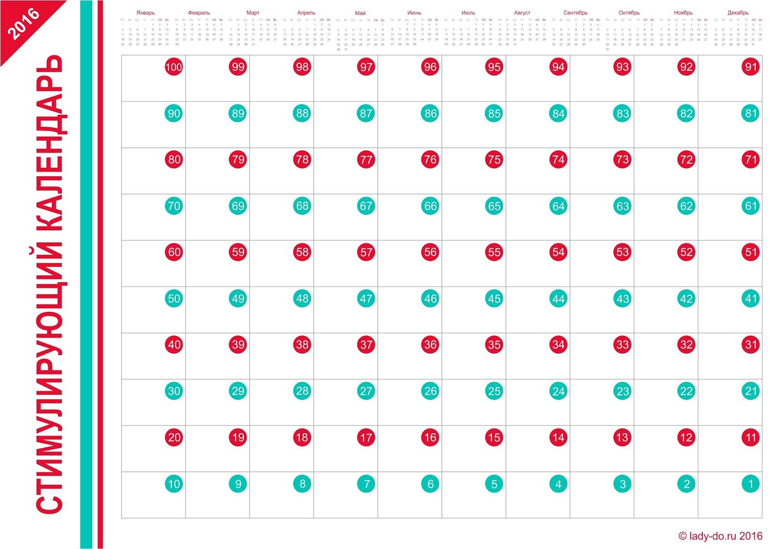 Календарь с обратным отсчетом