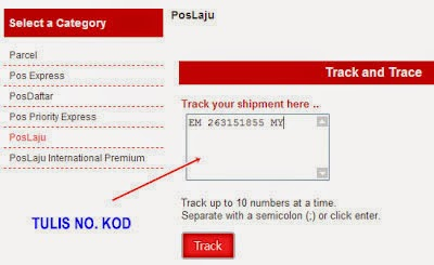 insert tracking number