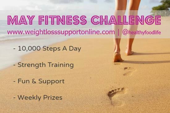 May Fitness Challenge with Lea Hunt. 10,000 Steps A Day and Tank Top Arms Strength Training @ Skinny Fiber Weight Loss Support.