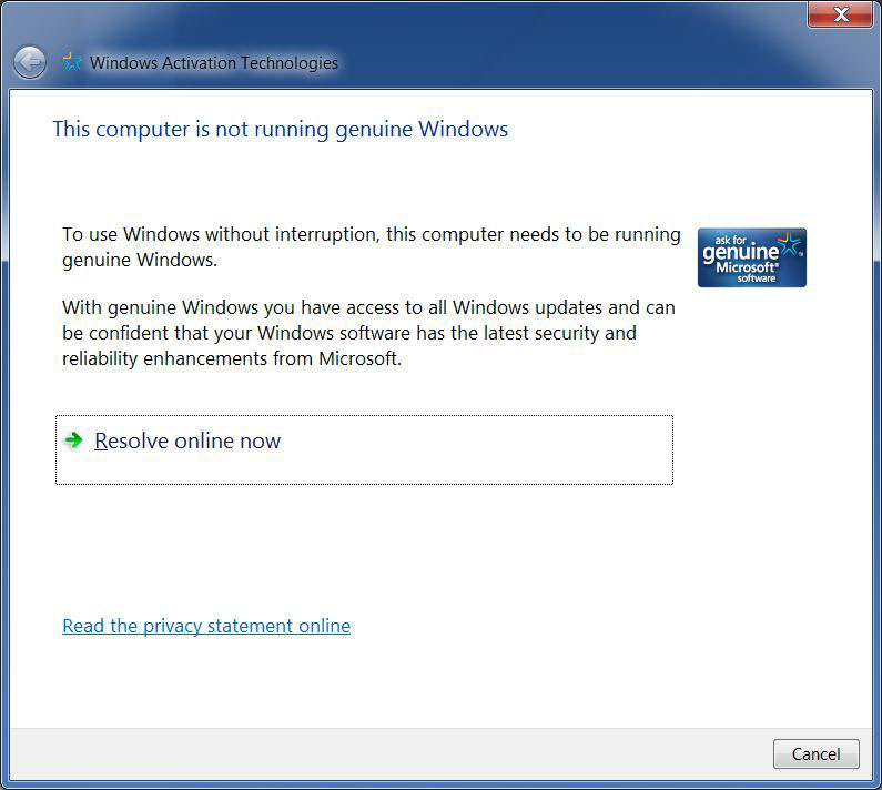 solution for the issue quot;This computer not running genuine windows 7