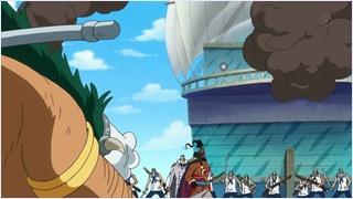 ชูโซะขึ้นบนเรือรบของโมมอนก้า