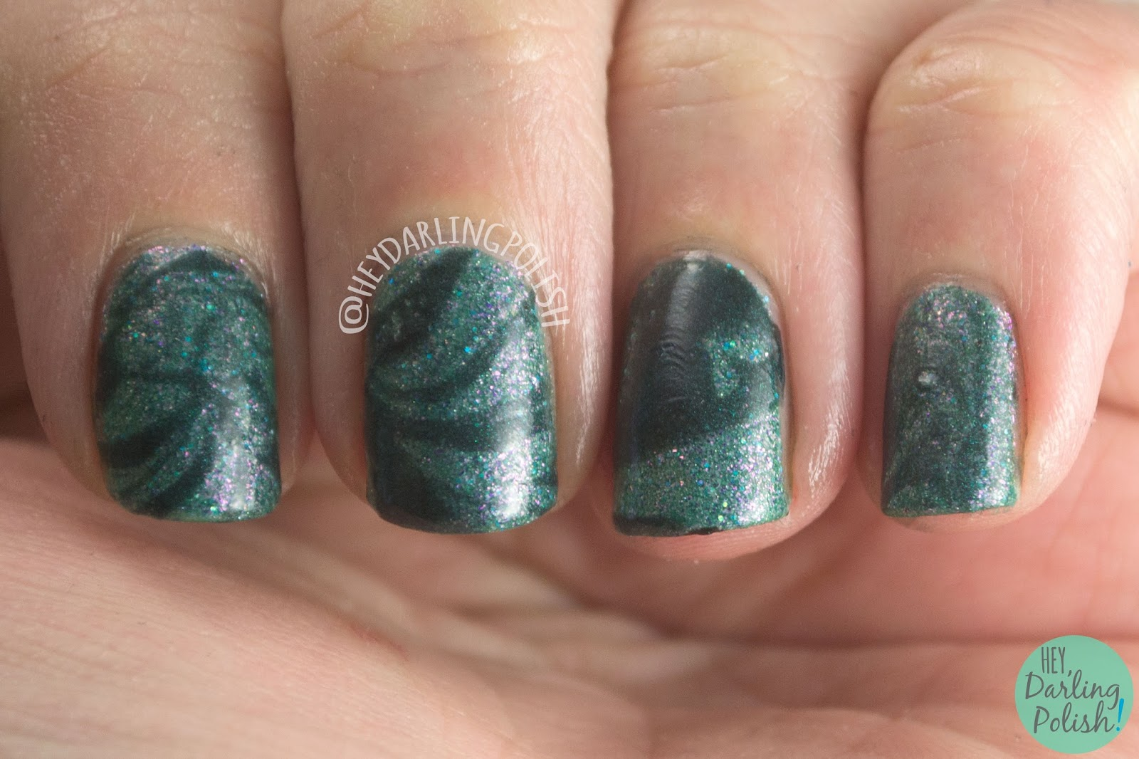 nails, nail polish, indie polish, kbshimmer, hey darling polish, teal another tail, shimmer, teal, watermarble,