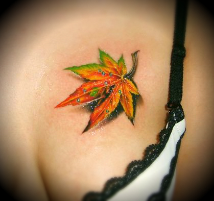 leaf tattoo on the chest