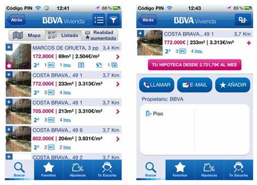 Para encontrar vivienda desde tu android o iphone bbva for Pisos de bancos bbva