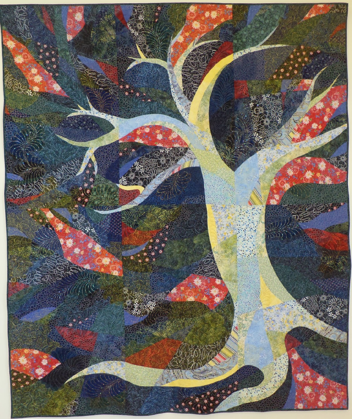 blue and red tree quilt