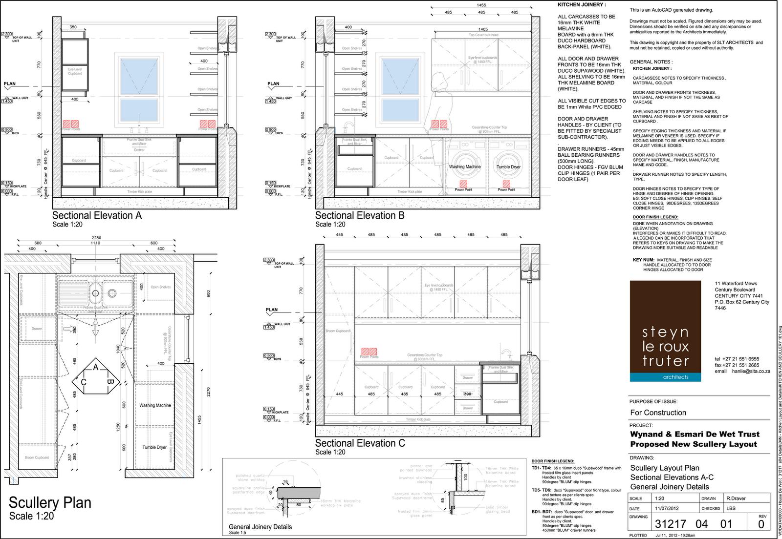 House De Wet Bathroom Layouts A3 Landscape Sheet Print A2