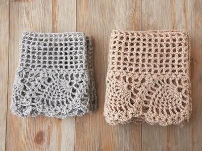 Artesanías de Lourdes: Bufanda de Crochet con Motivos de Piñas