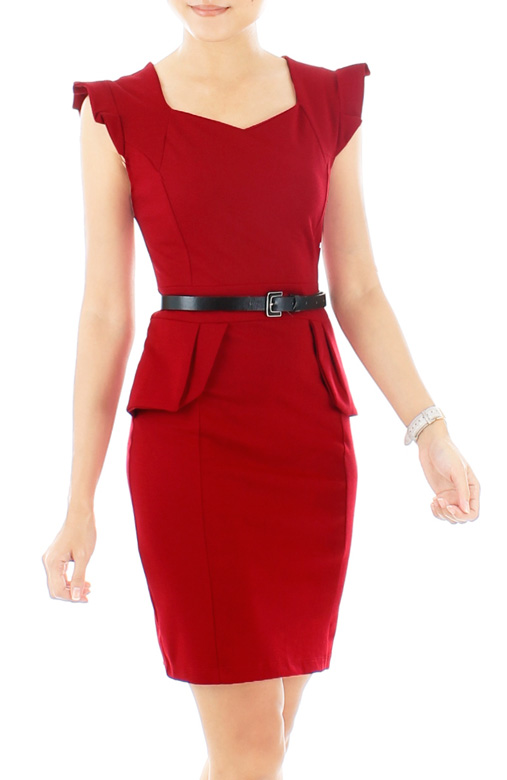 Frill Forte Peplum Dress – Poppy Red