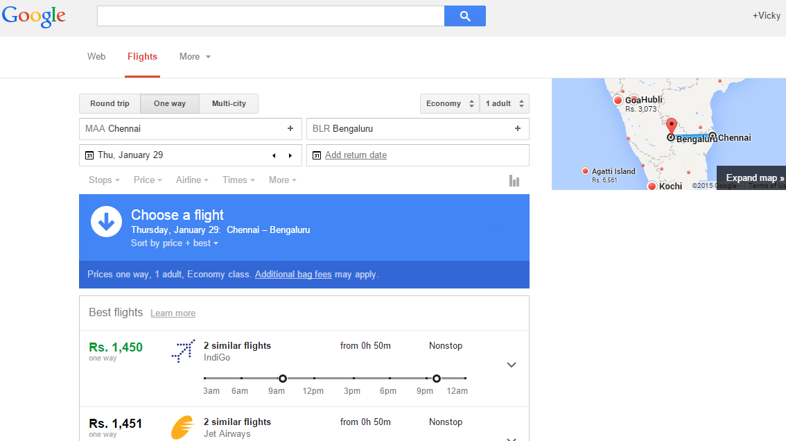 google introduced flight search india