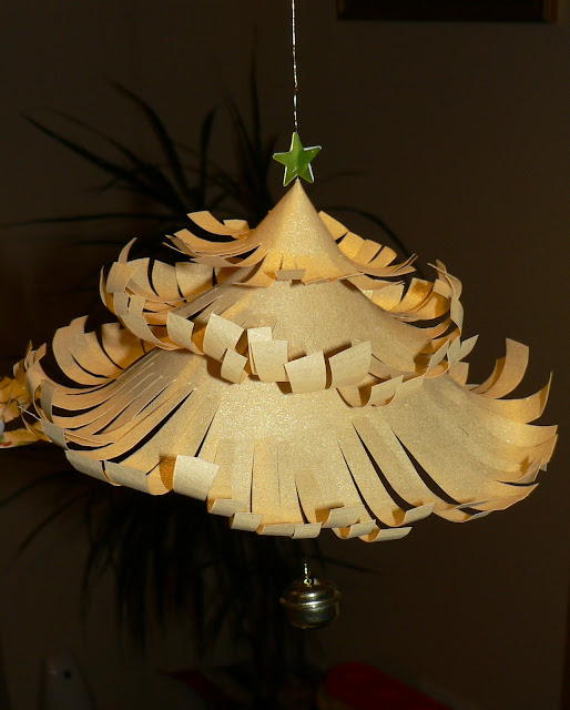 gold curled paper christmas tree decoration craft