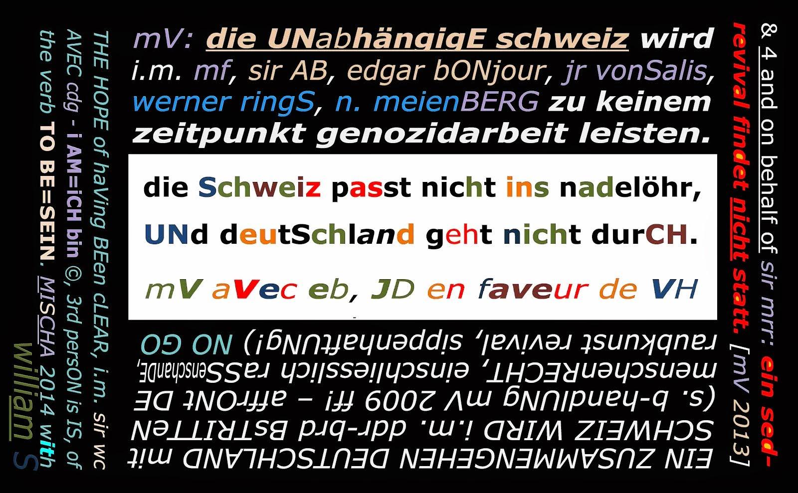 schweiz unabhängigkeit bundesverfassung mishca vetere DIE GEISTIGE REVOLUTION mrr SHAKESPEARE