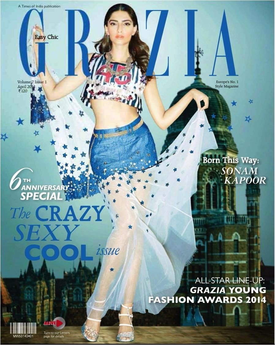 Featured on cover page, Sonam Kapoor as successful cover girl in 'The Crazy, Sexy, Cool Issue' of Grazia magazine