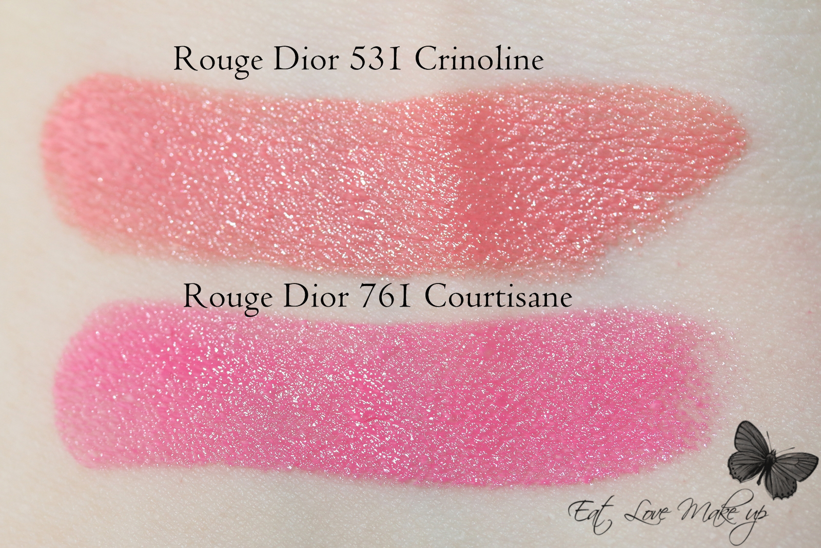 Dior Rouge Dior Rose Crinoline 531 & Courtisane 761