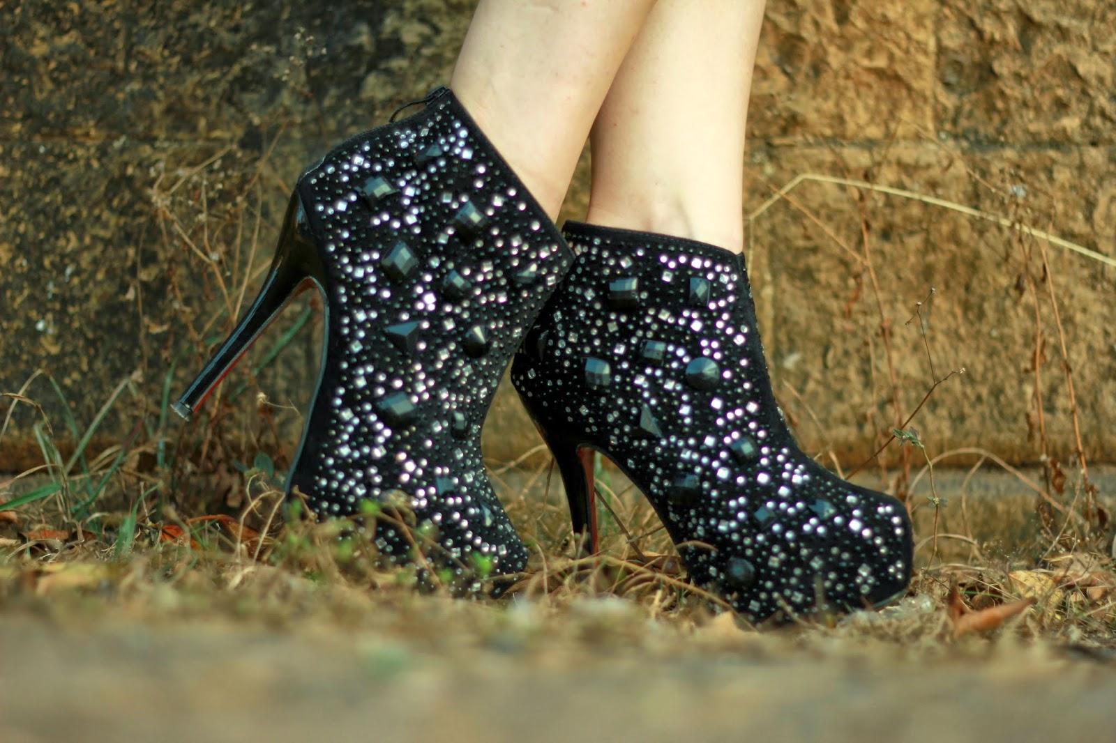 Black rhinestone embellished ankle boots