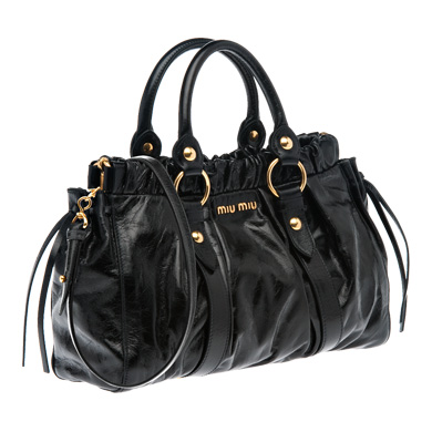 450bd0fd888 Miu Miu Shiny Calf Gathered Top Handle Bag