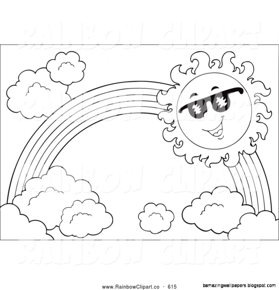 Vector Clip Art of a Black and White Sun and Rainbow by visekart