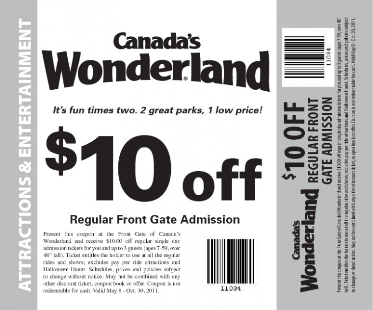 For Canada's Wonderland we currently have 0 coupons and 0 deals. Our users can save with our coupons on average about $ Todays best offer is. If you can't find a coupon or a deal for you product then sign up for alerts and you will get updates on every new coupon added for Canada's Wonderland.