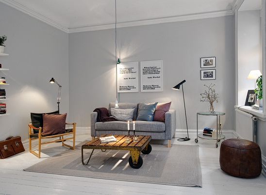 Harmaa seinä olohuone