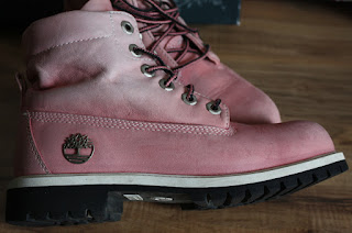 pink leather Timberland boots