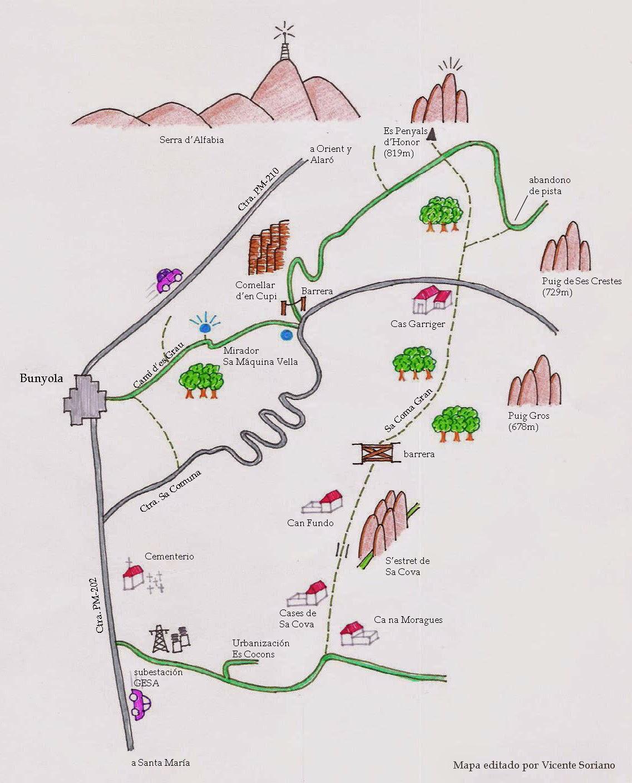 Mapa excursión sa comuna Bunyola