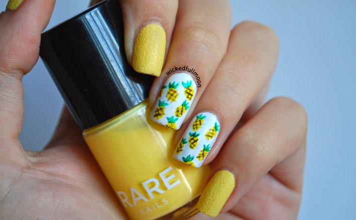 reto colores 2 amarillo piñas pineapple nail art