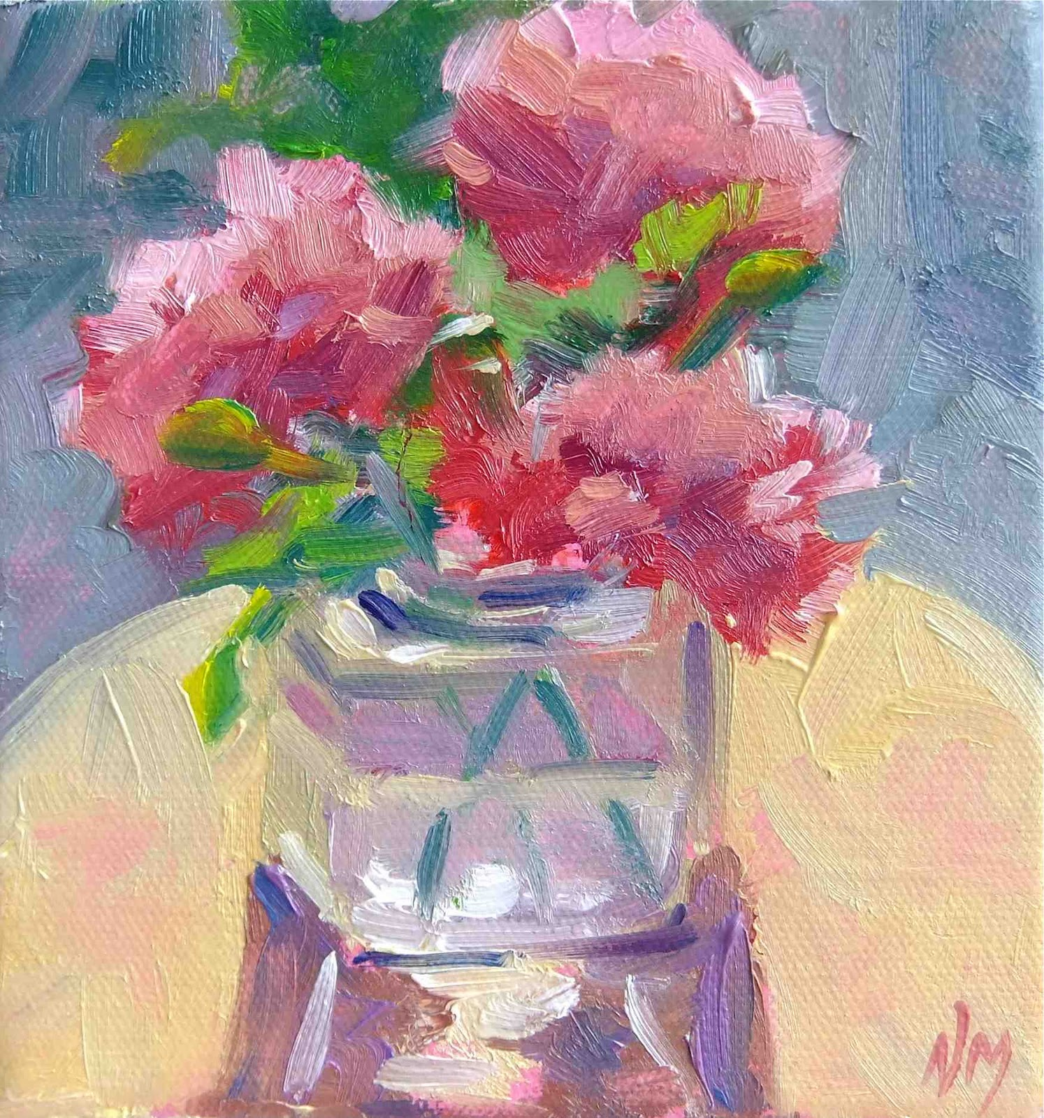 Oil Painting Flowers Red Carnation Macphail