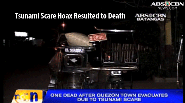 Tsunami Scare Hoax Circulated in Candelaria, Quezon and San Juan, Batangas