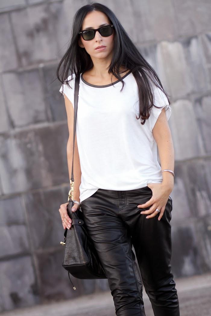 Pantalones de cuero Kirin de Muubaa y bolso Alexa de Mulberry