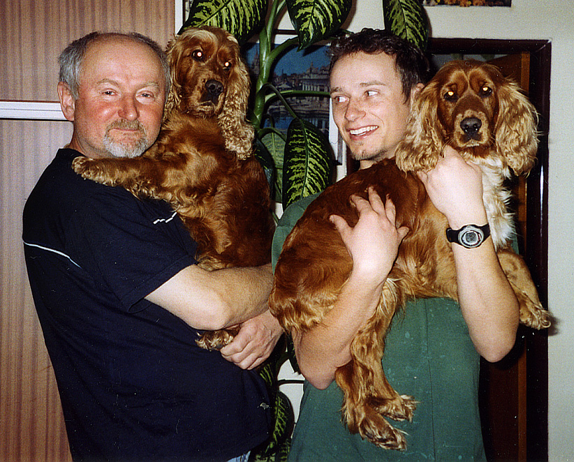 The two Jiří's with their dogs Šerina (L) and Sára (R)