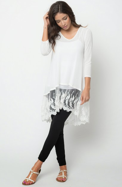 Buy online lace tunic tops for women on sale at caralase.com