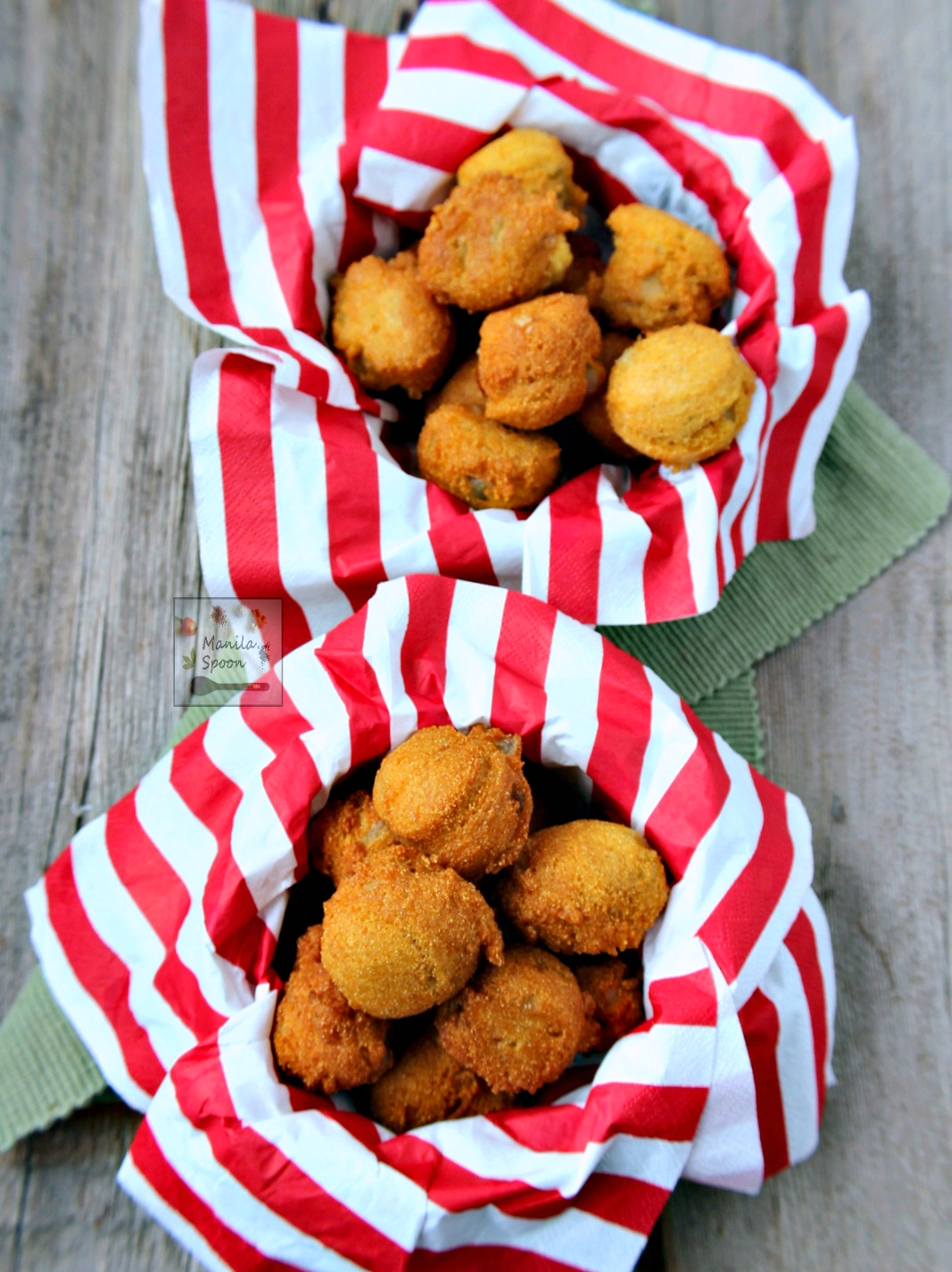 These delicious cornmeal fritters (hush puppies) flavored with garlic and onions are the perfect savory nibbles or side dish!