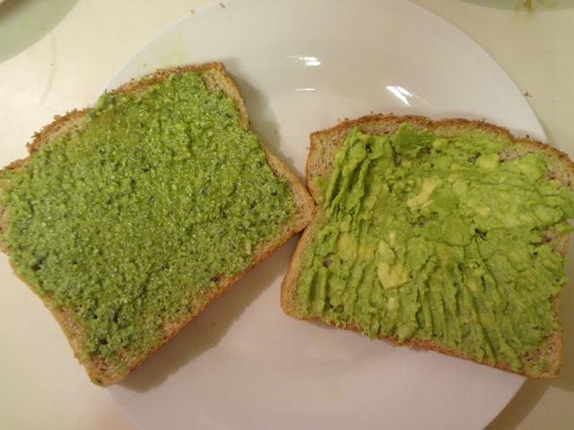 toast with pesto, toast with mashed avocado