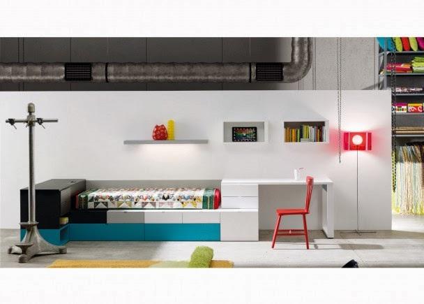 dormitorio con cama cajones kubox
