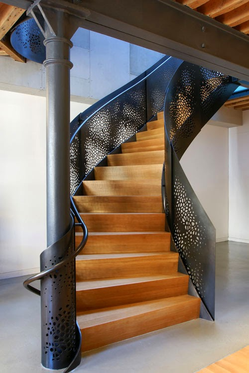 metal spiral stairs with iron metal