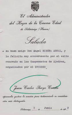 Saluda de Juan Carlos Pueyo Cuesta a Ángel Ribera en 1982