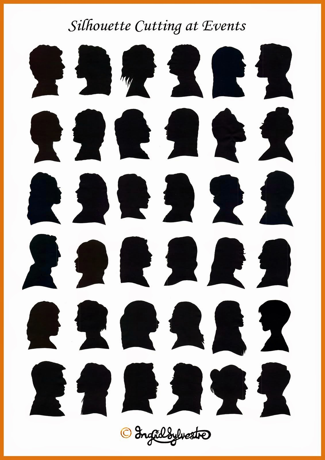 Silhouettes cut by Ingrid Sylvestre at weddings, parties, proms, corporate events