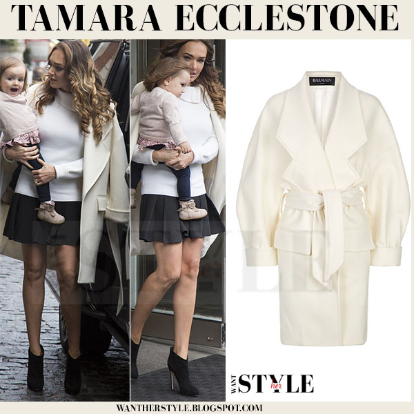 Tamara Ecclestone in cream oversized balmain coat and black gianvito rossi ankle boots what she wore