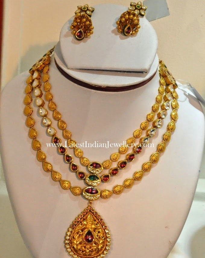 Antique Multi Step Kundan Necklace