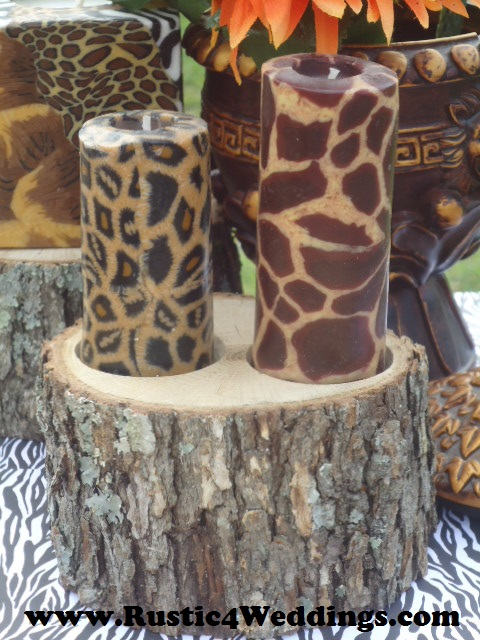 Rustic 4 weddings rustic safari wedding candle stands and holders if your planning on having a rustic safari wedding theme then try using our wood candle holders and stumps to make gorgeous centerpieces junglespirit Image collections