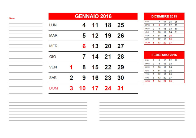 Calendario mensile 2016 - gennaio